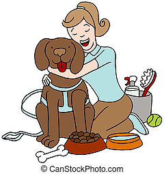 Taking Care of Dog - An image of a female taking care of a...