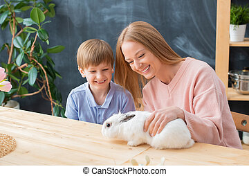 Taking care of rabbit
