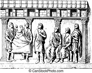 Taking manly toga (for after an engraved antique stone),...