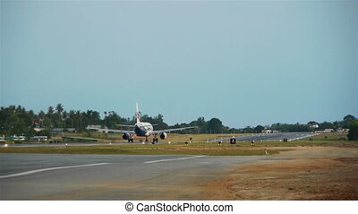 Taking off airplane, Samui island, Thailand