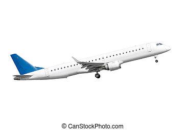 Taking off passenger plane, isolated on white background.