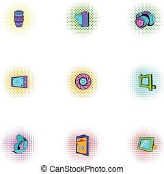 Taking photo icons set, pop-art style