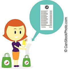 A woman taking picture of her grocery receipt by phone (in Flat Cartoon Style)