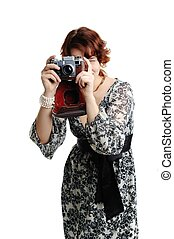 Taking photos - An image of a nice woman taking photos
