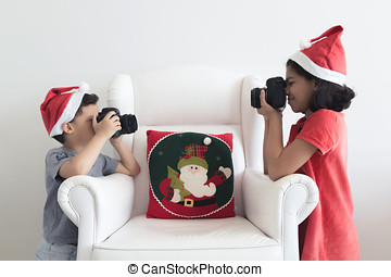 Taking pictures at Christmas