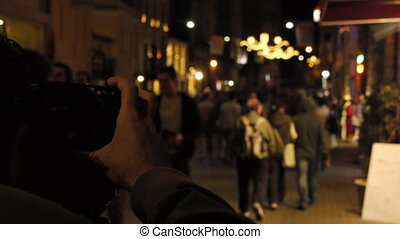 Taking pictures at night.