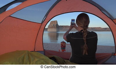 Taking Pictures with Phone Tent Camping Lone Rock Lake...