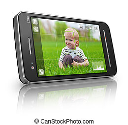 Taking pictures with mobile phone: smartphone in camera mode isolated on white reflective background *** Photo used here is my own from my own portfolio and all text labels are fully abstract