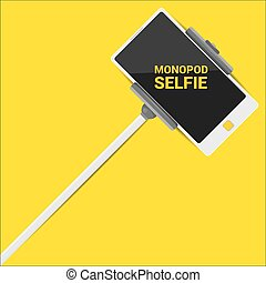 Taking Selfie Photo on Smart Phone with monopod concept . vector illustration