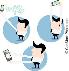 Taking Selfie Photo on Smart Phone concept icon . vector...