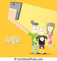Friends Group Sit On Sofa Take Selfie Photo Friends Group Sit On
