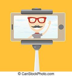 Taking Selfie Photo on Smart Phone with monopod concept. vector illustration. summer selfie background