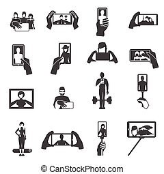 Taking selfie photos black icons set