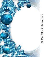 takken, baubles, achtergrond, kerstmis
