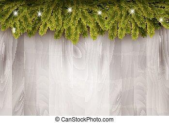 takken, baubles, houten, boompje, wall., achtergrond, voorkant, kerstmis, vector.