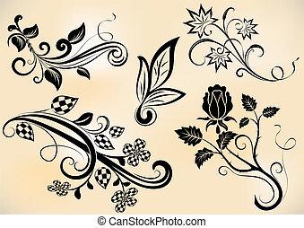 takken, bloemen, elements., vector, ontwerp, ouderwetse