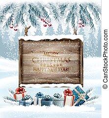 takken, boompje, vrolijk, achtergrond, houten, board., ...