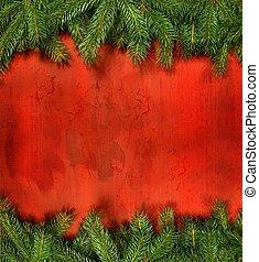 takken, dennenboom, rustiek, hout, tegen, rood