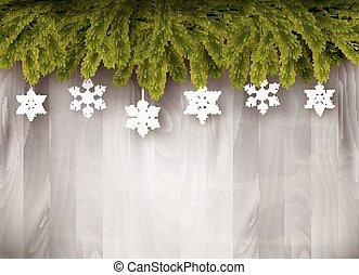 takken, snowflakes, houten, boompje, wall., achtergrond, voorkant, kerstmis, vector.