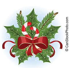takken, -, vrijstaand, boog, vector, bes, hulst, kerstmis