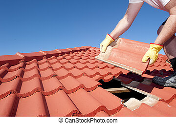 takläggning, konstruktion, tegelpanna, reparera, arbetare