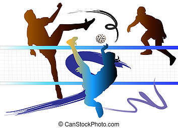 net, art, man, thai, kick, foot, ball, male, play, game, asia, sepak, asian, sport