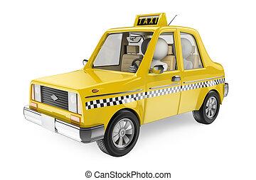 taksówka, biały, ludzie., 3d