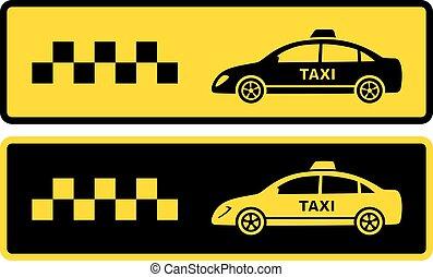 taksówka, czarnoskóry, dwa, żółty, ikony