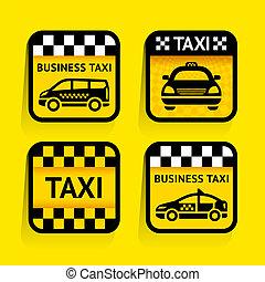 taksówka, -, komplet, majchry, skwer, na, przedimek określony przed rzeczownikami, żółte tło
