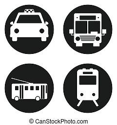 taksówka, komplet, przewóz, pociąg, -, button., trolleybus, tunel, wektor, ilustracja, autobus, koło, publiczność, ikona