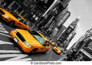 taksówka miasta nowego yorku, plama, ognisko, ruch, czas...
