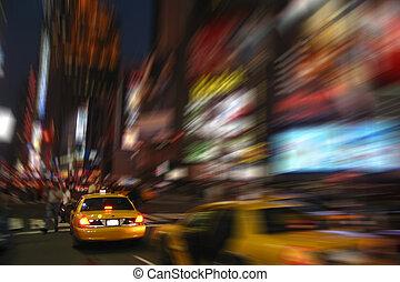taksówka nowego yorku, taksówka, na, czas trwania plac