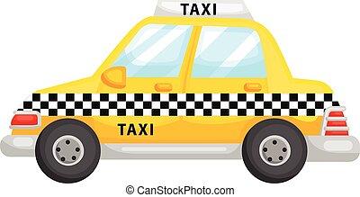 taksówka, sprytny, żółty