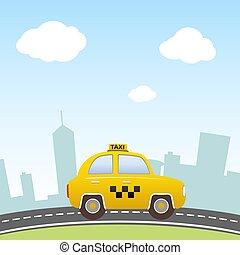 taksówka, tło., miasto