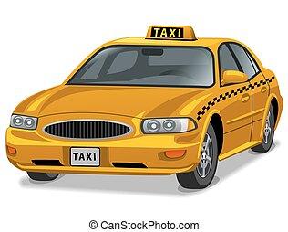 taksówka, wóz, żółty