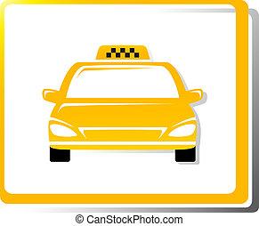 taksówka, wóz, wizerunek