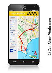 taksówka, zastosowanie, smartphone, służba, internet
