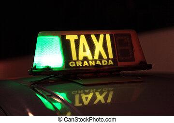 taksówka znaczą, oświetlany, w nocy, w, granada, hiszpania