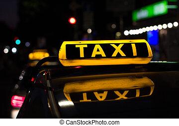 taksówka znaczą, w nocy, taksówka, wozy