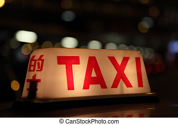 taksówka znaczą, w nocy, w, hongkong