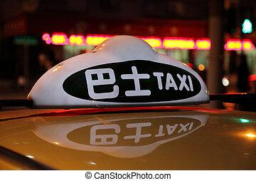 taksówka znaczą, w nocy, w, szanghaj, porcelana