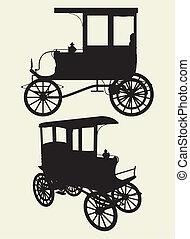 taksówki, wiktoriański, wóz