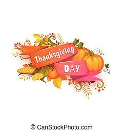taksigelse, banner pumpkin, dag, bånd, glade