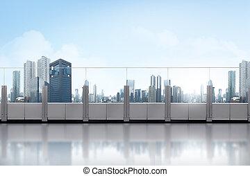 taktopp, balkong, med, skyskrapa