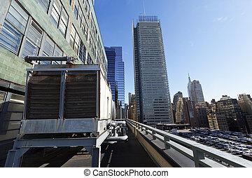taktopp, skyskrapor, myndighet, yor, hamn, parkering, färsk...