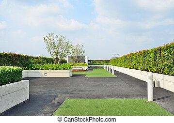 taktopp trädgård, landskap