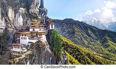 Taktshang Goemba or Tiger's nest Temple or Tiger's nest monastery the beautiful buddhist temple. The most sacred place in Bhutan is located on the high cliff mountain with sky of Paro valley, Bhutan.