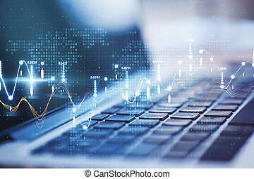 takty muzyczne, cielna, proces, statystyczny, laptop, dane, analiza, tło, wykresy, cyfrowy
