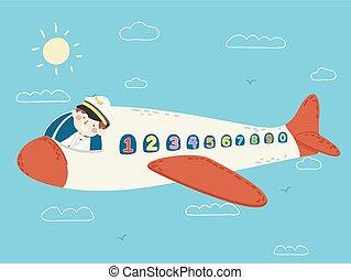 takty muzyczne, pilot, ilustracja, airplane okna