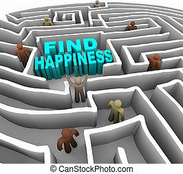 talál, -e, irány, fordíts, boldogság